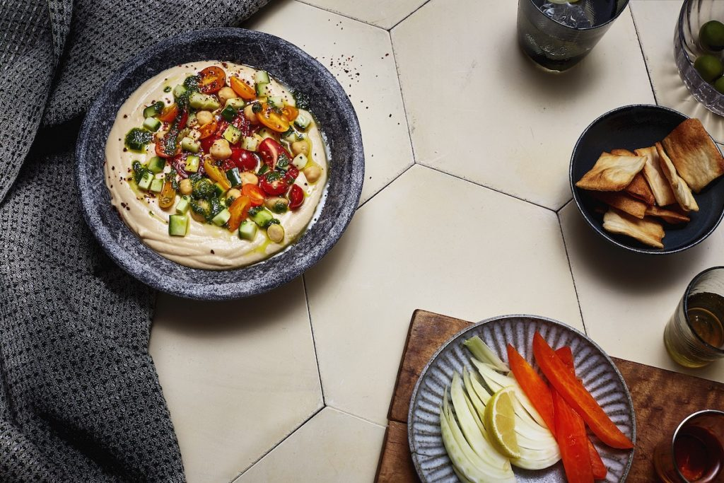 Party Hummus with Herbed Olive Oil and Tomatoes