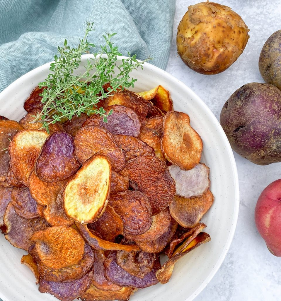 Tri-Color Oven-Roasted Potato Chips